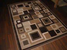 Modern Approx 8x5ft 160cmx230cm Woven Backed Squares Quality Rugs Brown/Beiges
